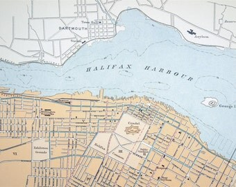 1915 Antique Map of Halifax, Nova Scotia, Canada - City map - Canada Antique Map - Halifax Antique Map - Nova Scotia Antique Map