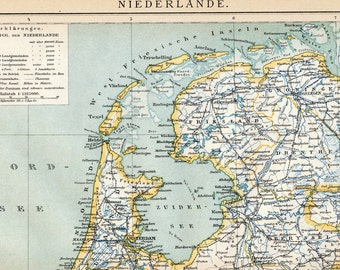 1897 German Antique Map of the Netherlands