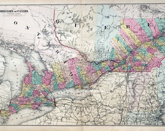 1878 Rare Large Antique Hand-Coloured Map of the Dominion of Canada, Western Sheet (Ontario and Quebec)