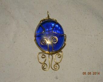Wire Wrapped Dark Blue Glass Butterflyl Pendant