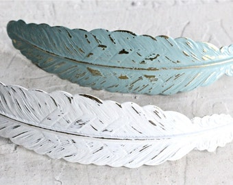 Choose your color. Large feather hair clip.  Blue or Ivory feather barrette.  Weddings bridesmaids gift.