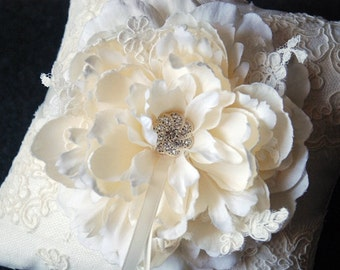 Wedding Ring Pillow -Light Ivory  Silk Ring Bearer Pillow With Light Ivory Lace Overlay and Bloom - Alena