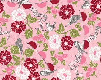 SALE - Riley Blake Designs, Remember, Flowers & Birds, Pink and Red, Carina Gardner, 100% Cotton Quilt Fabric, Floral Quilting