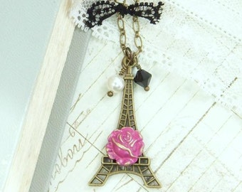 Paris Necklace Eiffel Tower Jewelry French Necklace Romantic Jewelry Pink Rose Necklace Eiffel Tower Necklace