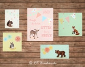 Baby Girl Nursery Art, Woodland Baby Animal Party Collection Set of 5 prints-  and though she be but little she is fierce , pastel