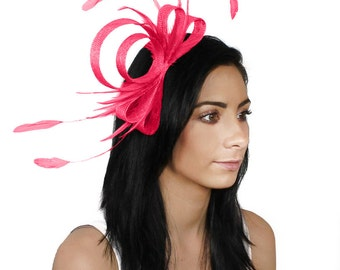 Traditional Bow Fuchsia Pink Fascinator Kentucky Derby or Wedding Hat With Headband (in 40 colours)