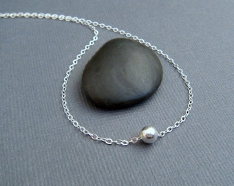 tiny silver ball necklace. round. small shiny dainty bead. simple sterling silver. delicate everyday minimalist jewelry. gift for her. 5 mm