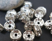 Silver Plated Rhinestone Spacers (Round Straight) - 6mm - 20 pcs