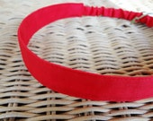 Skinny Fabric Headband with Elastic: Red Cotton