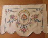 vintage hand embroidered doily blue white flowers