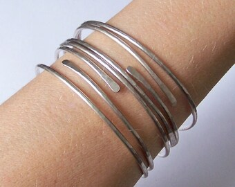 Silver Bangles - 4 Thick Open End Bangle Bracelets - Stacking Bangles - Stackable German Silver Bangle Bracelets - Made to Order