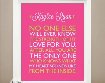 Cute Baby Shower Gift New Baby Gift Custom Birth Announcement Noone knows the strength of my love Nursery Wall Art Personalized Baby Decor