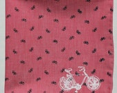 Red Bicycle Chambray Pocket Square/Handkerchief