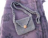 small crocheted button purse (charcoal gray)