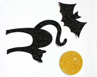 Fabric  Applique Iron-On Shapes -  Black Cat, Bat and Moon - Halloween Decorations, Create Your Own Assortment