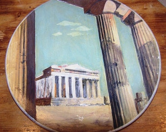 Dimensional Hand Painted Chalkware Plaque - Parthenon