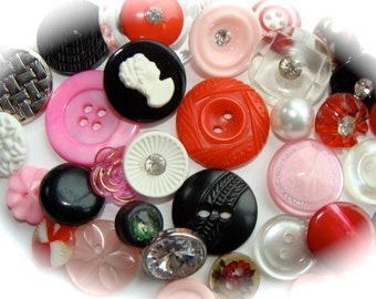 3 Dozen Vintage Buttons Glass Mixed Rhinestone Buttons  Collection N0 114