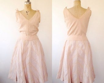 1950s dress / 50s skirt and sweater / Cashmere & Soutache dress