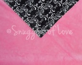 SALE - Minky Baby Blanket - In STOCK, Ready to SHIP - Minky Damask and Bubblegum Pink Minky - Quick Shipping! - Stroller Size (28x30)