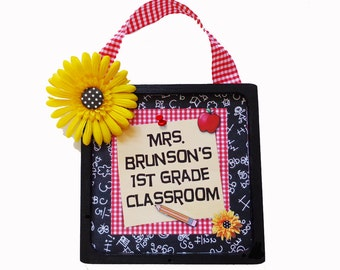 Teacher Door Sign Personalized Wooden & Framed Daisy Blackboard