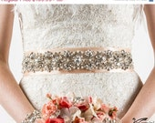 "Rose Gold Wedding Sash 17"", Crystal Rhinestone, Bridal Beaded, Bridal Sash, Rhinestones and Pearl Sash"