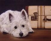 8x10 Westie West Highland Terrier Fine Art Giclee Print by LARA