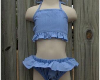 SALE! Navy stripe ruffle bikini. Personalized. Size 12m.