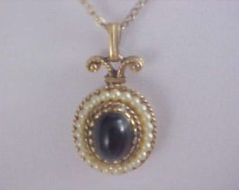 AVON Black Cabochon - Simulated Seed Pearls Pendant & Chain Necklace