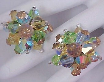 Genuine CRYSTALS ~ Multiple RAINBOW Hues Hand Wired Clip Earrings