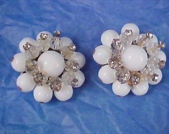 Hand Wired Milk Glass~Crystals & Diamante Clip Earrings