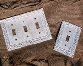 Light Switch Plate Cover Set Vintage White Metal Shabby Chic Distressed