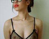 Black Silk And Tulle 'Hex' Soft Cup Bra
