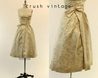 50s Brocade Dress Small / 1950s Satin Cotillion Party Dress / Heartbreak Glamour Dress