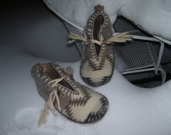 Icicle Whispers - Felted Blanket Wool / Wool Lined / Sheepskin and Leather Soles Moccasins / Slippers - Women's Sizes