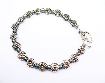 Silver Flower Bracelet - Silver-Plated Flower Beads with Bluish-Gray Glass Spacers