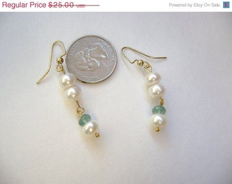 ON SALE Pearls and Apatite in gold