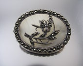 Vintage sterling silver mother of pearl marcasite brooch pin