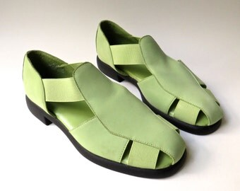 90s vintage Mootsies Tootsies Lime Green Leather and Elastic T-Strap Sandals