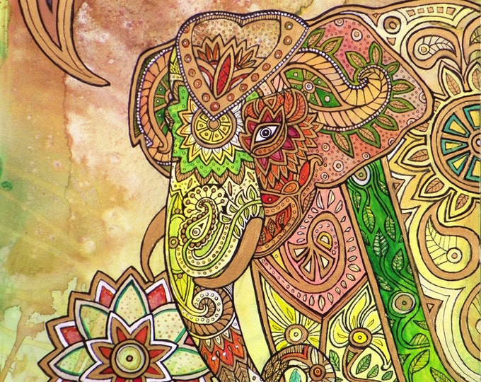 Painted Elephant Animal Art Print by Lynnette Shelley