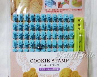 Alphabet letters, numbers cookie / clay mini stamp set