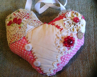 Heart Crazy Quilt Pillow