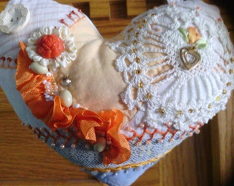 Fancy Orange Heart Crazy Quilt Pillow