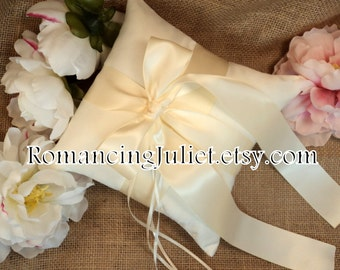 Romantic Satin Ring Bearer Pillow...You Choose the Colors...Buy One Get One Half Off...shown in ivory/ivory