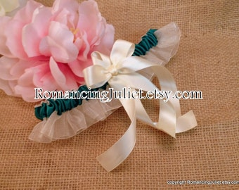 Organza Satin Skirted Garter..Many Colors Available for Custom Orders..shown in ivory/teal/ivory