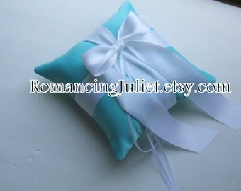 Romantic Satin Ring Bearer Pillow ...You Choose the Colors.. .Buy One Get One Half Off...shown in aqua/white