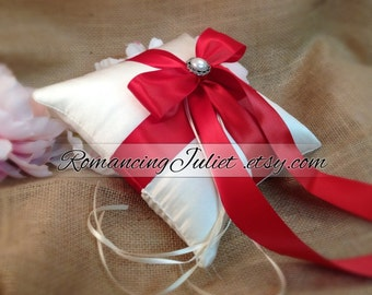 Romantic Elite Ring Bearer Pillow with Delicate Pearl Accent...You Choose the Colors..BOGO Half Off...shown in ivory/red