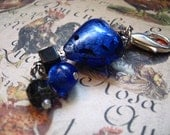 Blue HEART & Black Onyx -  Zipper Pulls or Key Ring or Rear view Mirror Charm