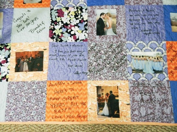Wedding Guest Book Quilt with photos, Photograph and Autograph Quilt, Wedding Quilt ...
