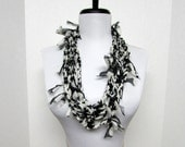 GladRagz Circle of Chains Necklace Scarf in Black and Creamy White Chiffon Ready to Ship Infinity Circle Shredded Knotted Crochet Scarf