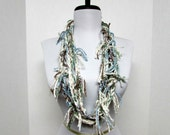 GladRagz Circle of Chains Necklace Scarf in White, Brown, Dusty Green, Dusty Blue Cotton Ready to Ship Knotted Scarf Infinity Circle Scarf